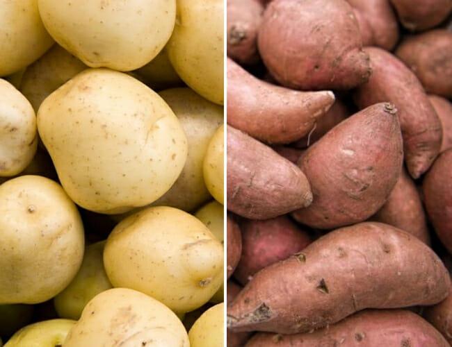 potatoes and sweet potato