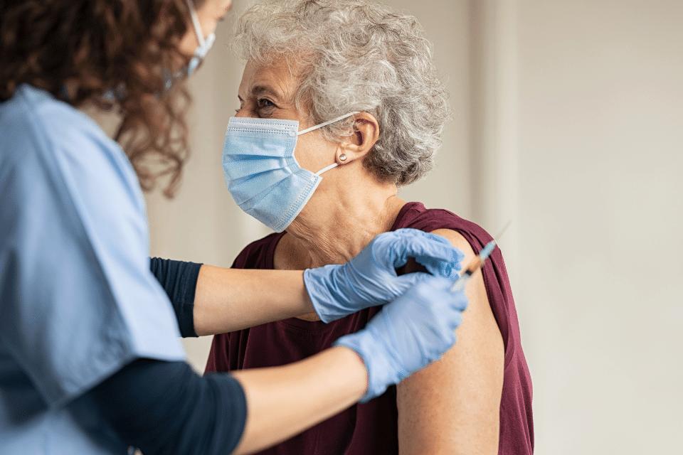 CKD Checklist: Doctor giving vaccine senior woman