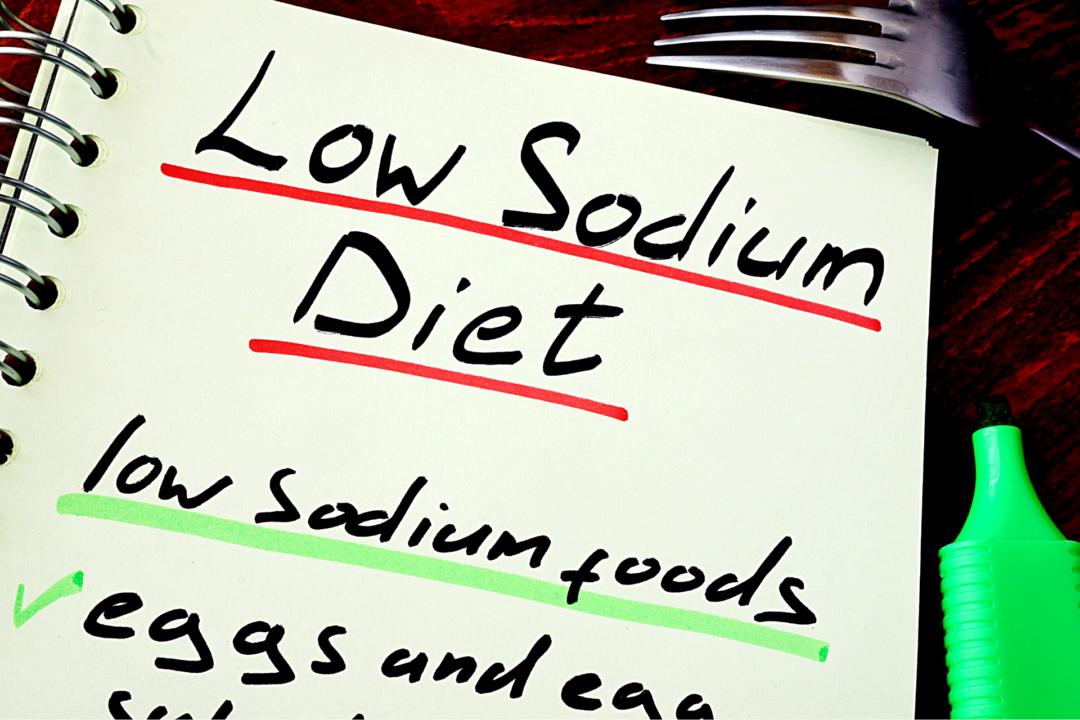 low sodium diet written in notebook