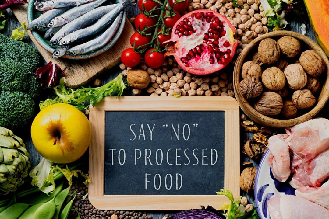 say no to processed food sign