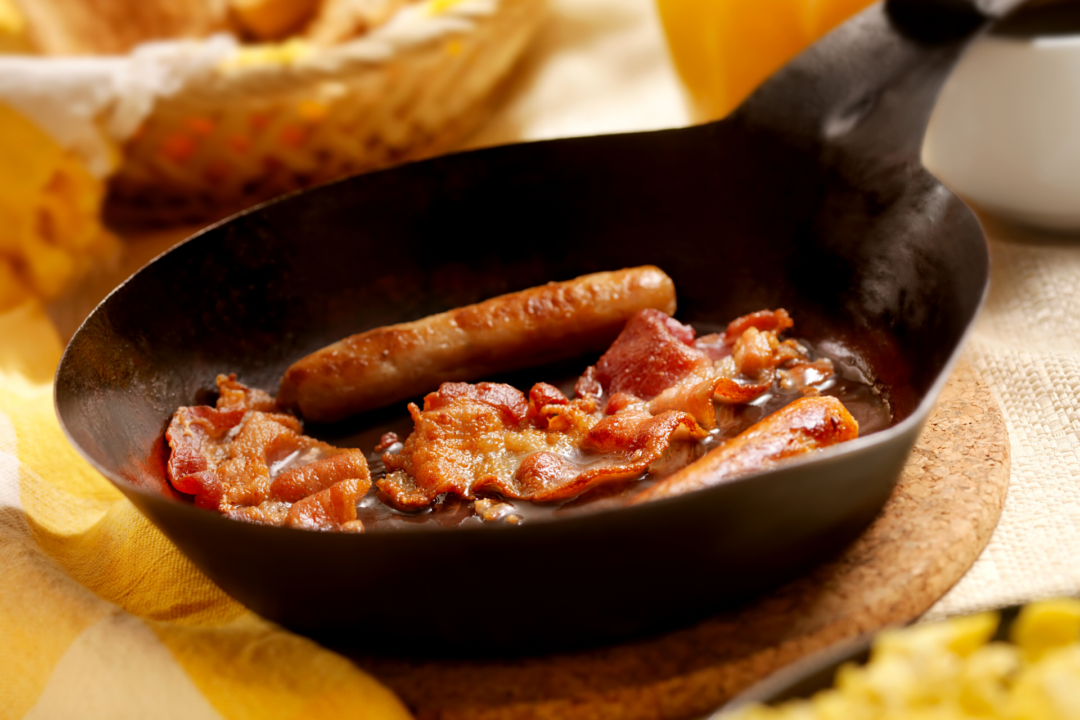 Bacon and Sausages in a pan